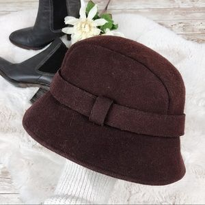 J. Crew Burgundy Wool Cloche Bow Hat Small